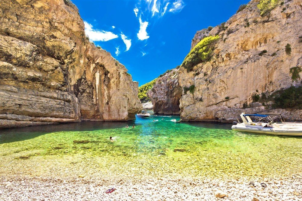 One of the most beautiful coves on your Croatia tour from Split. Vis - Stiniva