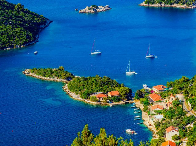 The island Mljet is full of well natural protected coves